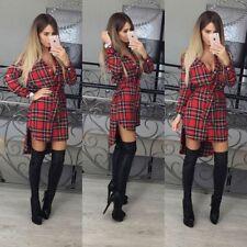 Women Slim Fit Plaid Checks Dresses Long Sleeve tartan Collar Button Shirt Dress