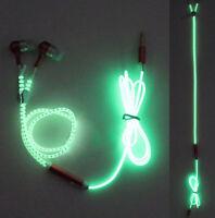 3.5mm Glow in Light In-Ear Headphone Earphones Headset Luminou Zipper Colors
