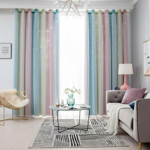 Blackout curtains gradient starry sky tulle + boy and girl room decoration UK.