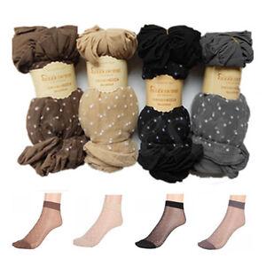 5/10/20 Pairs Lady Lace Ultra-thin Fiber Denier Sheer Ankle High Pop Dots Socks