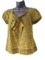 MONSOON 12 Vgc Green Short Sleeved Frill Bow Neck Shirt Blouse Spot Dot Pattern