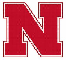 Counted Cross Stitch Pattern, Nebraska Cornhuskers Logo - Free US Shipping