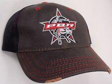 Hat Cap Professional Bull Riders PBR Black Mesh Dark Brown OC
