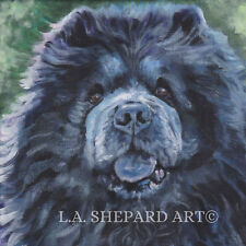 black CHOW chow dog art portrait Canvas PRINT of LAShepard painting 12x12""
