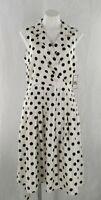 Jessica Howard Missy Women's Ivory Polka Dot Sleeveless Daytime Midi Dress 14