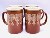 "Vtg MCM Mikasa Potters Craft Tribal Cocoa Pattern Tall Coffee Mugs Set Of 4 5""H"