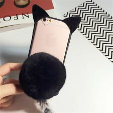 iPhone 7 7plus Womens Girls Cute 3D Fur Ball Cat Ears Clear TPU Case Phone Cover