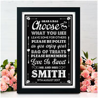 Sweet Table Buffet PERSONALISED Wedding Signs - Sweeties Candy Table Bar Signs
