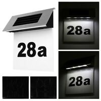 Solar Hausnummer mit 4 LED Beleuchtung Design Edelstahl Glas Hausnummernleuchte