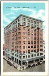 """Shreveport, Louisiana Postcard """"GIDDEN'S LANE BLDG""""  Street View Kropp c1930s"""