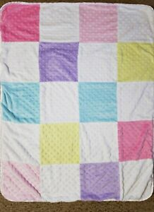Circo Baby Blanket Pastel Colors Patchwork Squares Minky Dot Pink Sherpa Reverse