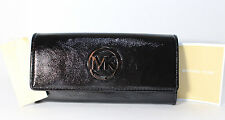 Michael Kors Fulton Flap Continental Leather Wallet Gloss Black NWT