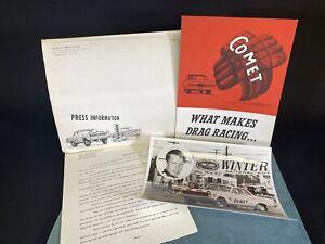 Vtg 1965 Arnie Beswick Press Info Photo & Comet Brochure Drag Dearborn Michigan