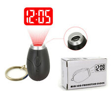 LED Projection Clock Key Ring Holder Spy Finder 007 Neon DJ Gadget Glow in Dark
