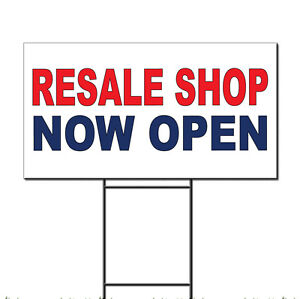 Resale Shop Now Open Red Blue Corrugated Plastic Yard Sign /Free Stakes