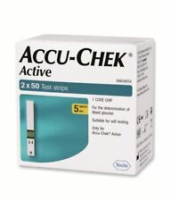 100 Test Strips for Glucometer Blood Glucose Accu-Chek Active