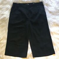 Express Womens Career Pleated Front Flare Culottes Cropped Pants Sz 6 Black NWT