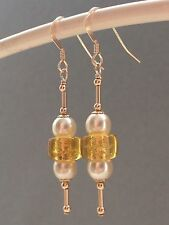 Vintage Golden Foil Glass & Glass Pearls 14ct Rolled Gold Earrings