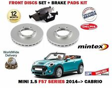 FOR BMW MINI 1.5 D + COOPER 2014-> NEW FRONT BRAKE DISCS SET + DISC PADS KIT