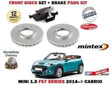 FOR BMW MINI 1.5 D + COOPER 2014-> NEW FRONT BRAKE DISCS SET + DISC PADS KIT