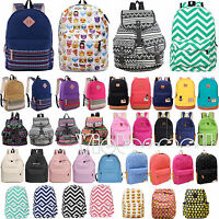 Womens Girls Canvas School Backpack Shoulder Bags Travel Hiking Rucksack Satchel