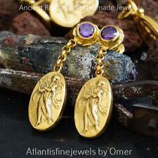 925k Sterling Silver Omer Handmade Coin Amethyst Drop Earrings 24k Gold Vermeil