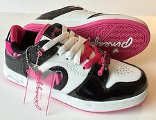 Pineapple White-Black-Pink Trainers With Two Contrasting Laces Sz 4