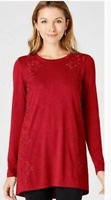 NEW J. Jill XS L XL Embroidered & Beaded Knit Tunic Top Cotton/Modal/Spx Red