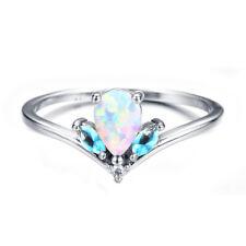New V Shape 925 Silver Ring Teardrop White/Purple/Blue Fire Opal Wedding Jewelry