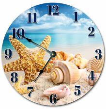 BEACH CLOCK SEA SHELLS ON THE BEACH Large 10.5 inch Round Wall Clock 2003