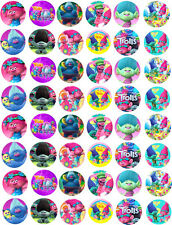 48 Trolls Troll Poppy Cupcake Edible Fairy Cake Wafer Toppers 3cm