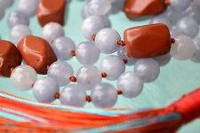 Aquamarine Jasper Nuggets Hand knotted Japa Mala Beads Yoga Necklace