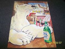 1982 Molson Golden College Poster W/ Polar Bear, Walrus & Deer At Saloon - New !