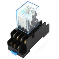 HH54P DC 12V Coil 4PDT 14 Pins Electromagnetic Power Relay DYF14A Base J6Y6