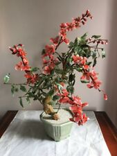 "Fantastic Large 20"" Asian Glass Leave & Flower Gump Tree Beautiful Coral Flowers"