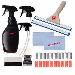 Auto Tint Fitting Kit Spray Bottle Rubber Wiper Scraper Tinting Install Clean