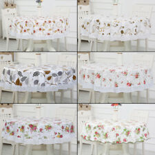 """Round Tablecloth Dining Room For Kitchen Oil-proof PVC Floral pattern 59.8/70.8"""""""