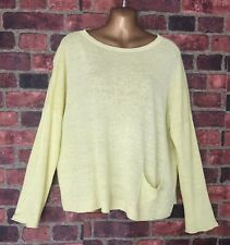 EILEEN FISHER Organic Linen Knitted Boxy Sweater Top Pocket Cropped Size L