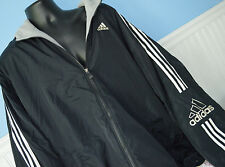 MENS ADIDAS WINTER COAT JACKET 2XL XXL fleece lined 3-stripe Hood ARM LOGO #L28