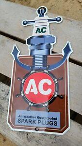 NICE OLD VINTAGE AC SPARK PLUGS PORCELAIN HEAVY METAL GAS STATION DIE-CUT SIGN