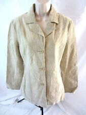 BB Dakota Womens Coat Jacket Suede Leather Beige Sz M Button Front Lined 0438