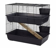Little Friends Rabbit 100 Double Tier Indoor Guinea Pig Cage Hutch Blue/Black