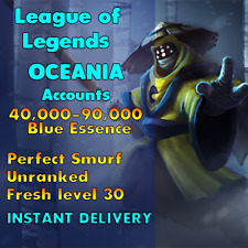 League of Legends LOL OCE Account Smurf 40.000 - 90.000 BE Level 30 Unranked