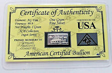 TITANIC Fine Solid Silver Bar Gram Ingot COA 100 Years Anniversary 1912 to 2012