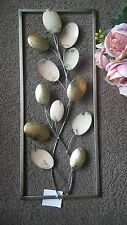 Metal Leaves Wall Art Wall Hanging Gold & Cream Pastel Colours Metal Frame 61cm