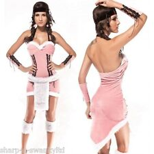 Ladies 3 Pc Pink Native American Indian Squaw Fancy Dress Costume Outfit 8-10-12