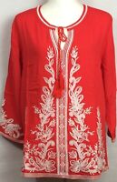 NWT Solitaire Embroidery Women's Tunic Red Long Sleeve Round Neck w Tie Size L