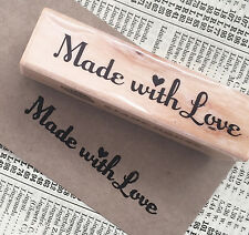 'Made with Love' Wooden Rubber Printing Stamp - Craft Tags Card making Hand Made