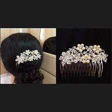 Stunning Crystal Bridal Wedding Prom Party Pearl Diamante Hair Comb Clip