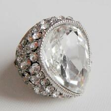 Gorgeous Crystal Diamond Drop Shape Stretch Ring Flexible One Size Party Queen